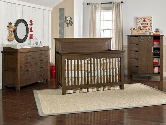 Lucca Convertible Crib – Weathered Brown
